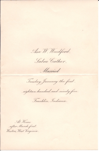 Marriage Announcement 1895, Asa Woodford & Sabra Cather.