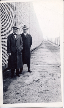 Walter, left, visiting a lumber mill in Mississippi, 1940.