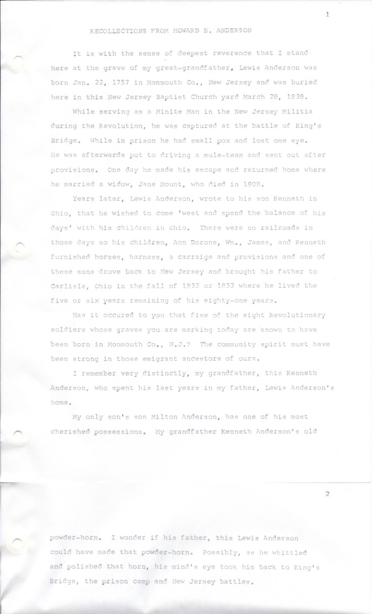 Anderson 1920s abt Dedication of Lewis Andersons Grave