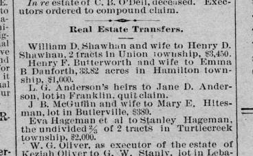 Anderson 1890 Newspaper LG Western Star 10 Apr 1890 real estate