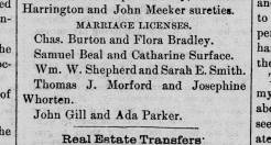 Beal 1884 Newspaper Samuel Catherine Western Star 13 Mar 1884 marriage